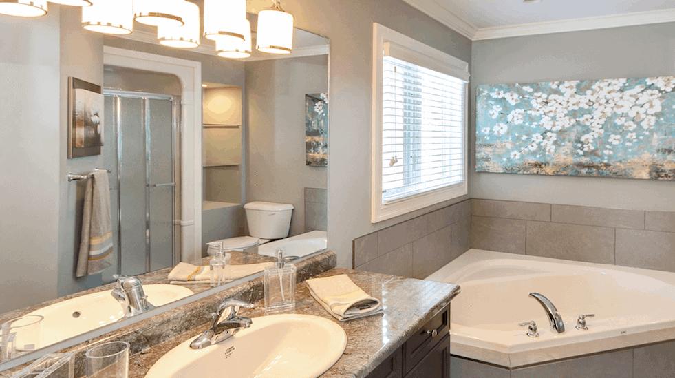 Image of Ironstone bathroom with MOEN fixtures