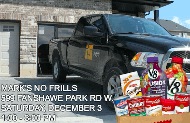Image of Ironstone & Mark's No Frills promoting Food Drive in 2016