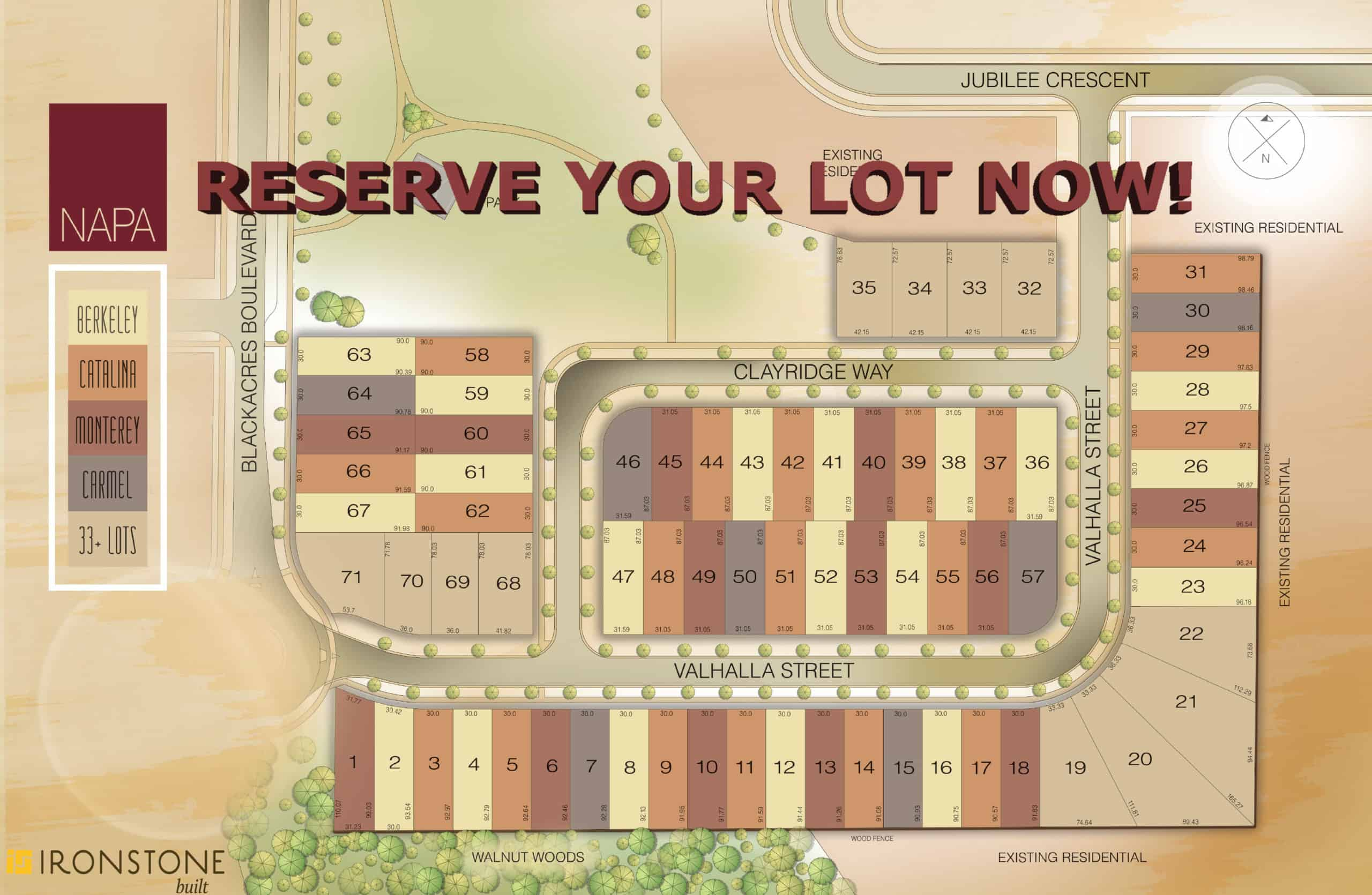 NAPA Community Site Plan saying reserve your lot now!