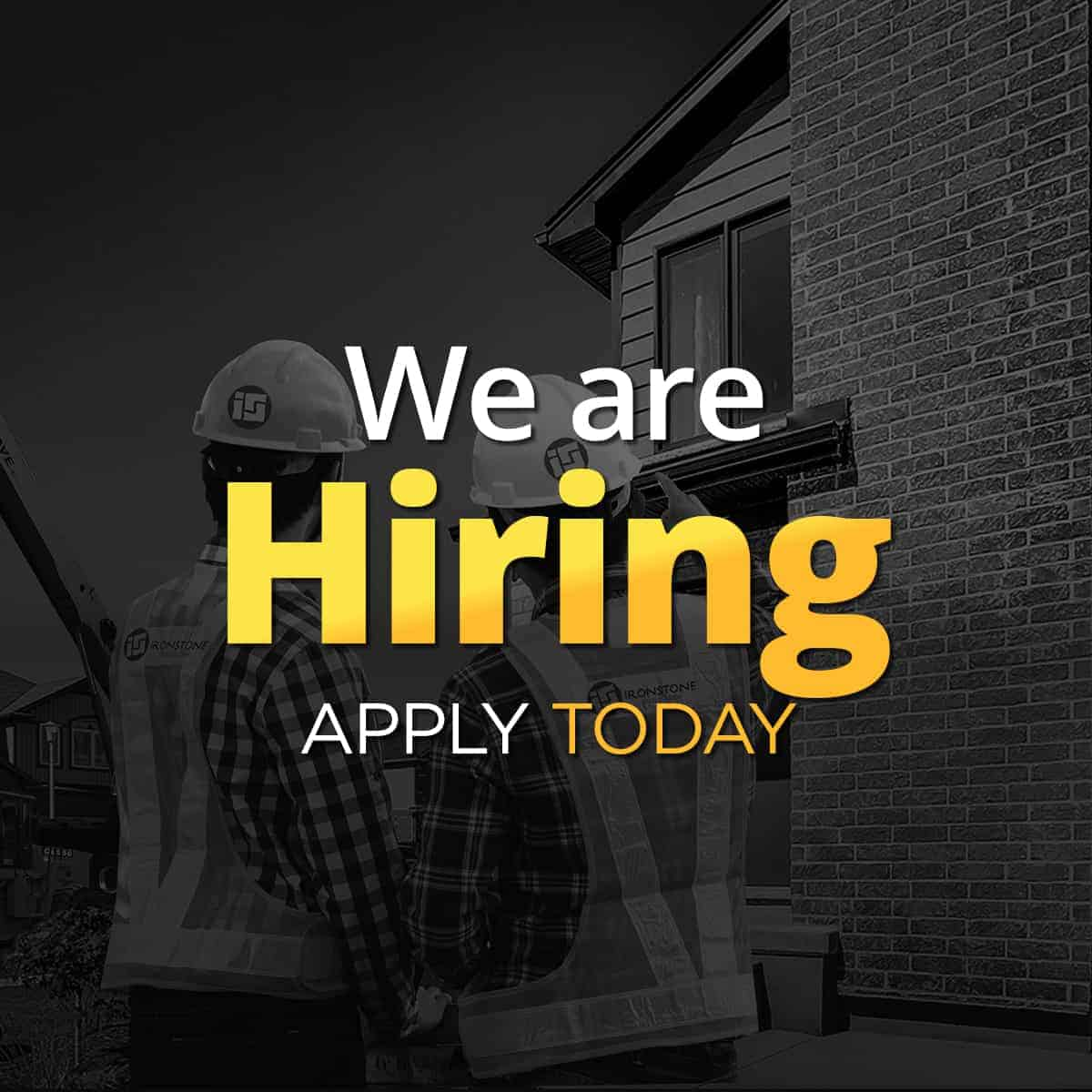 Text on image saying: We are Hiring. Apply Today
