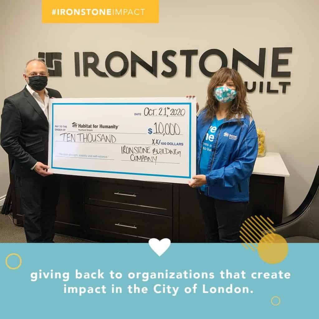 Ironstone 10 weeks of Impact donation to Habitat for Humanity