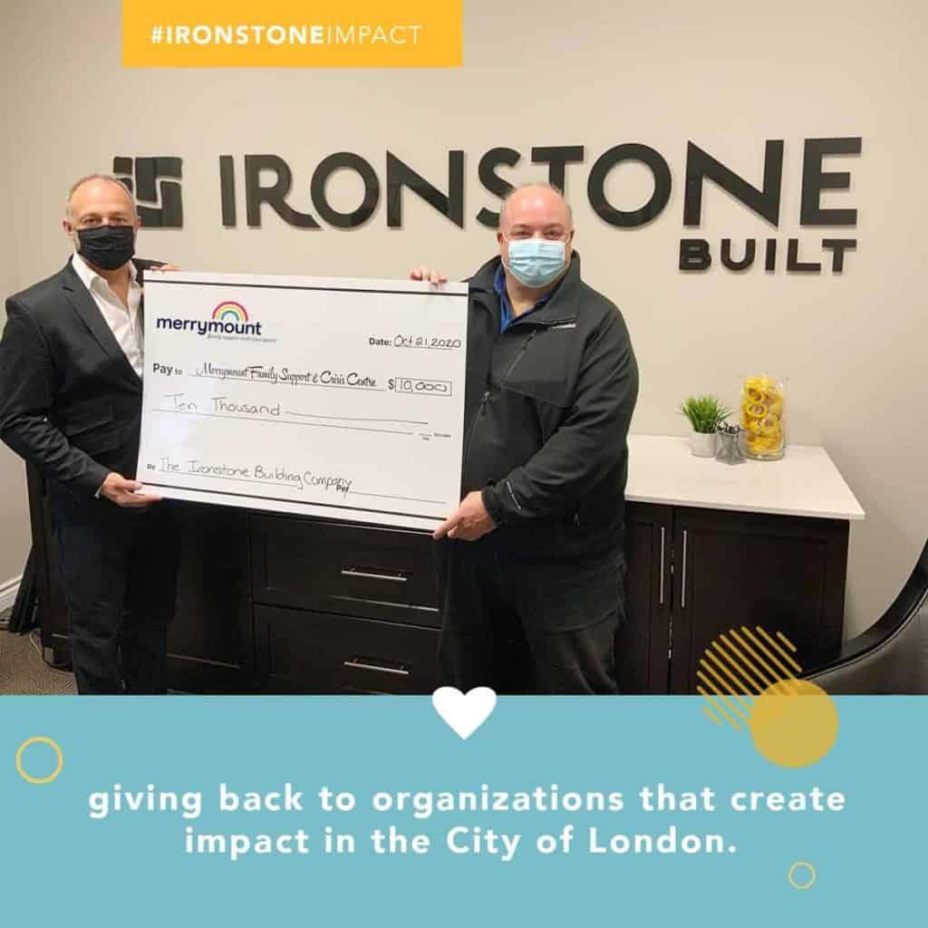 Ironstone 10 weeks of Impact donation to Merrymount